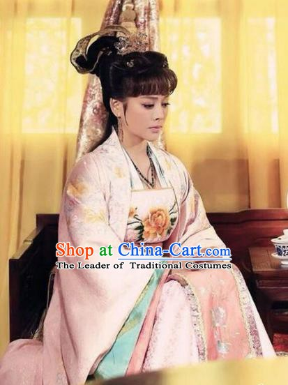 Chinese Ancient Ming Dynasty Imperial Concubine of Zhu Di Embroidered Dress Replica Costume for Women