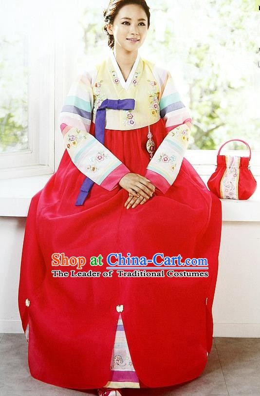 Top Grade Korean Palace Hanbok Traditional Yellow Blouse and Red Dress Fashion Apparel Costumes for Women