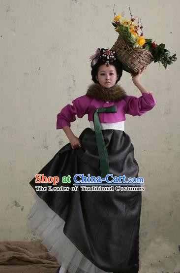 Top Grade Korean Palace Hanbok Traditional Purple Blouse and Black Dress Fashion Apparel Costumes for Women