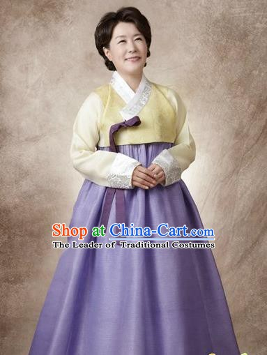 Top Grade Korean Hanbok Traditional Yellow Blouse and Lilac Dress Fashion Apparel Costumes for Women