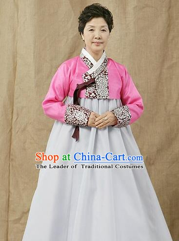Top Grade Korean Hanbok Traditional Pink Blouse and White Dress Fashion Apparel Costumes for Women