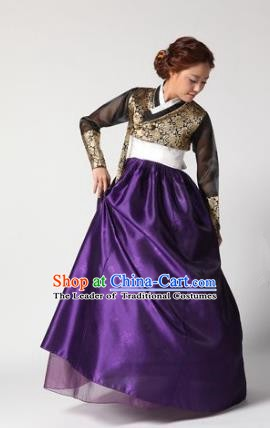 Top Grade Korean Hanbok Traditional Golden Blouse and Purple Dress Fashion Apparel Costumes for Women