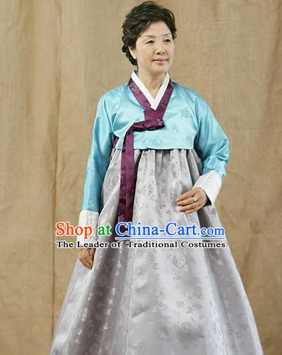 Top Grade Korean Traditional Hanbok Blue Blouse and Grey Dress Fashion Apparel Costumes for Women