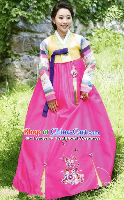 Top Grade Korean Traditional Hanbok Yellow Blouse and Rosy Dress Fashion Apparel Costumes for Women