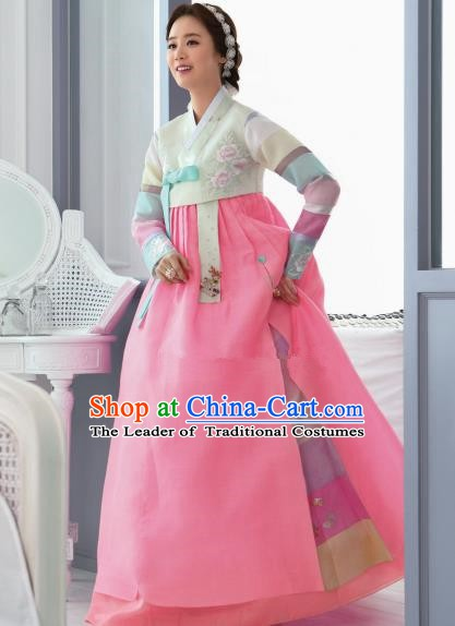 Top Grade Korean Traditional Hanbok Beige Blouse and Pink Dress Fashion Apparel Costumes for Women