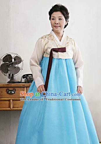Top Grade Korean Traditional Hanbok Embroidered White Blouse and Blue Dress Fashion Apparel Costumes for Women