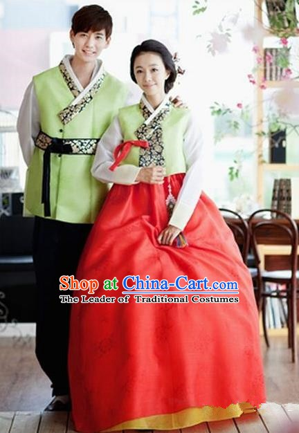 Asian Korean Traditional Wedding Hanbok Ancient Korean Bride and Bridegroom Costumes Complete Set