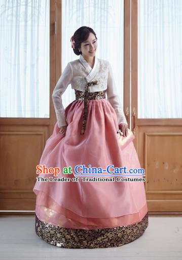 Top Grade Korean Traditional Hanbok Embroidered White Blouse and Pink Dress Fashion Apparel Costumes for Women