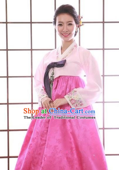 Top Grade Korean Traditional Hanbok Pink Blouse and Rosy Dress Fashion Apparel Costumes for Women