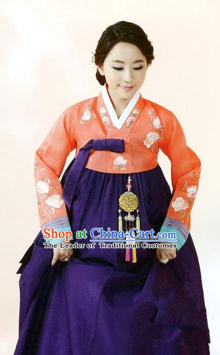 Top Grade Korean Traditional Hanbok Orange Blouse and Purple Dress Fashion Apparel Costumes for Women
