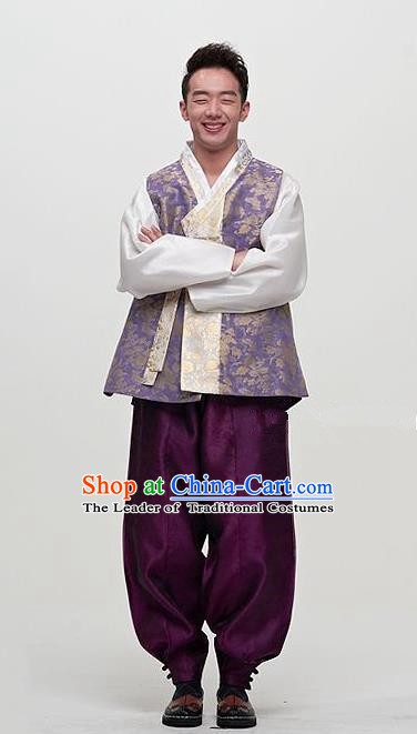 Asian Korean Traditional Male Hanbok Ancient Palace Bridegroom Costumes for Men