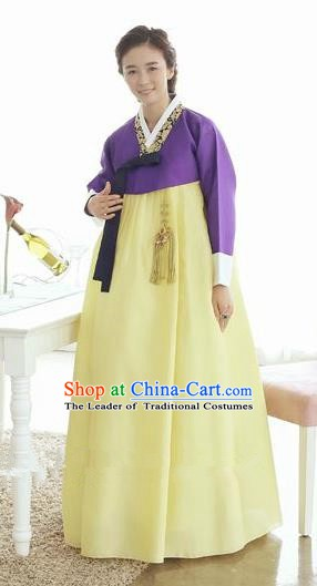 Top Grade Korean Hanbok Traditional Hostess Purple Blouse and Yellow Dress Fashion Apparel Costumes for Women