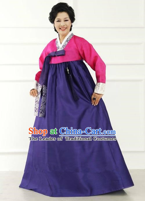 Top Grade Korean Hanbok Traditional Hostess Rosy Blouse and Purple Dress Fashion Apparel Costumes for Women