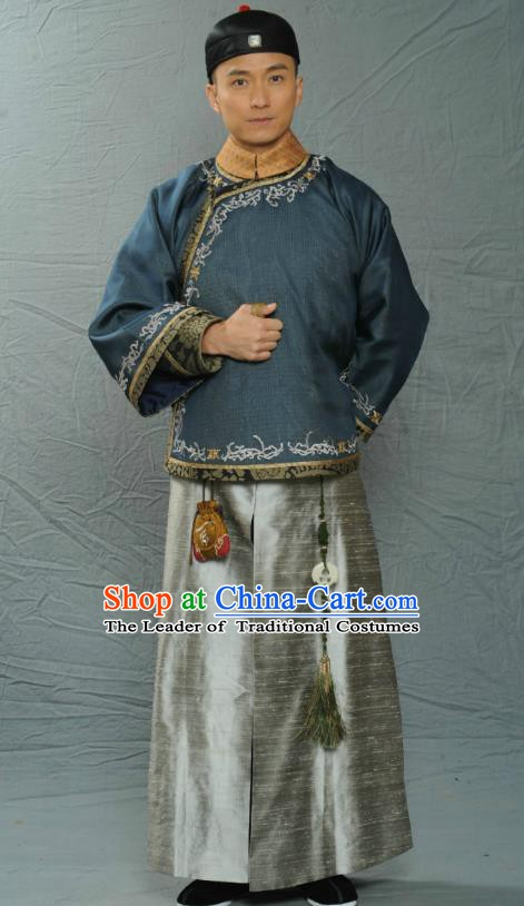 Chinese Ancient Qing Dynasty Scholars Section Du Zhenming Robe Replica Costume for Men