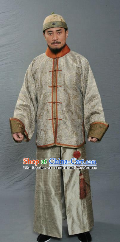 Chinese Ancient Qing Dynasty Manchu Minister General Nian Gengyao Replica Costume for Men