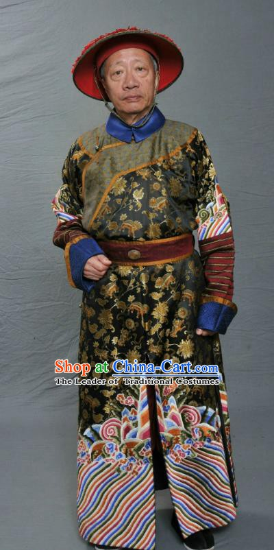 Chinese Ancient Qing Dynasty Court Eunuch Li Dequan Replica Costume for Men