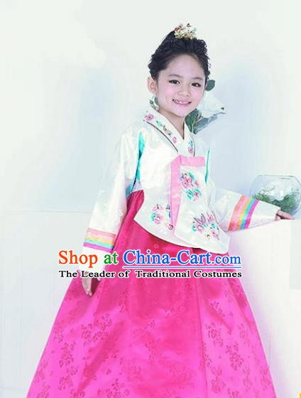 Top Grade Korean Hanbok Traditional Bride White Blouse and Pink Dress Fashion Apparel Costumes for Kids
