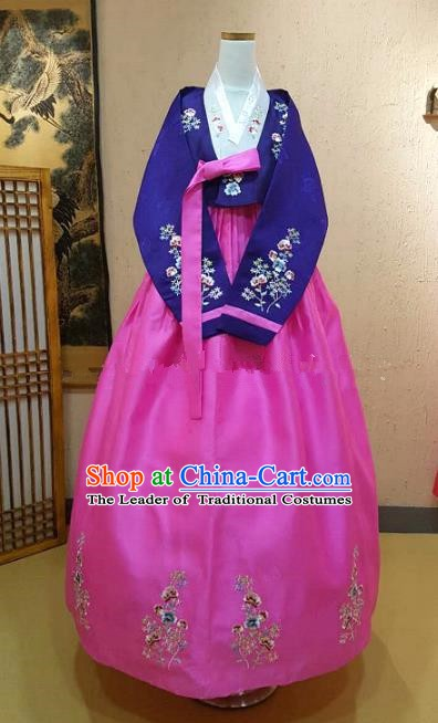 Top Grade Korean Hanbok Traditional Bride Purple Blouse and Pink Dress Fashion Apparel Costumes for Women