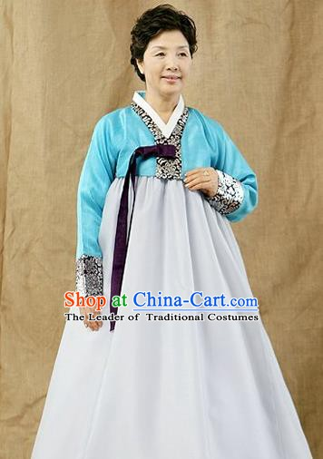 Top Grade Korean Hanbok Traditional Blue Blouse and White Dress Fashion Apparel Costumes for Women
