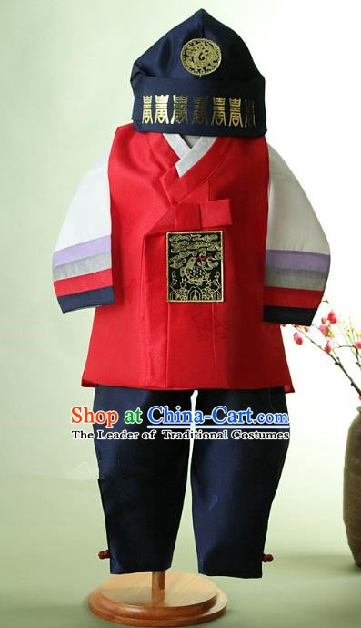 Asian Korean Hanbok Ancient Palace Boys Red Shirt and Pants Traditional Costume for Kids
