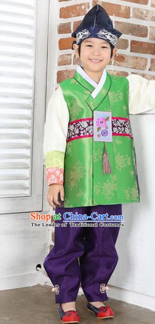 Asian Korean Hanbok Ancient Palace Boys Green Shirt and Purple Pants Traditional Costume for Kids