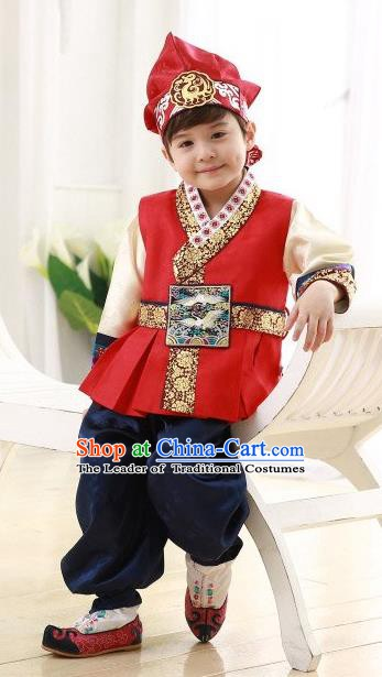 Asian Korean Hanbok Ancient Palace Boys Red Shirt and Blue Pants Traditional Costume for Kids