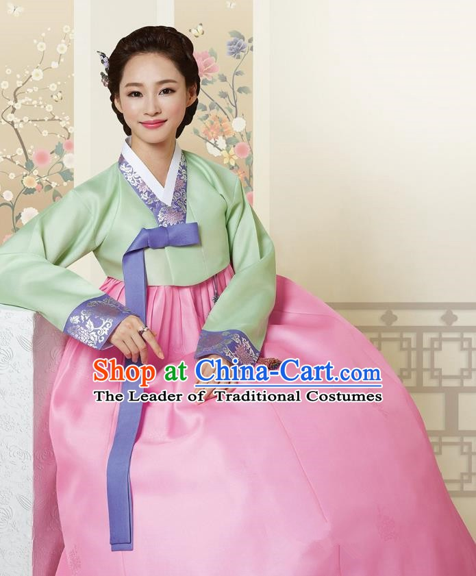Top Grade Korean Hanbok Traditional Green Blouse and Pink Dress Fashion Apparel Costumes for Women