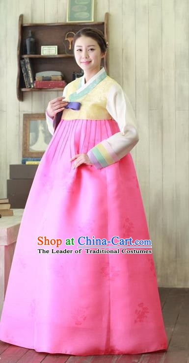 Top Grade Korean Hanbok Traditional Yellow Blouse and Rosy Dress Fashion Apparel Costumes for Women