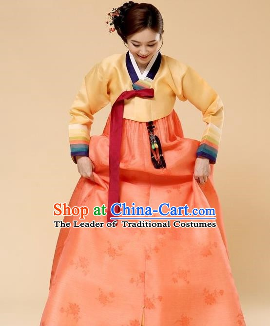 Top Grade Korean Hanbok Traditional Yellow Blouse and Orange Dress Fashion Apparel Costumes for Women
