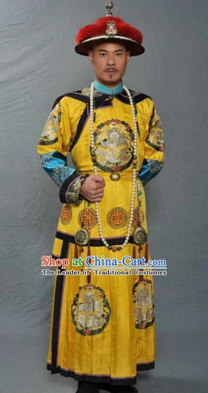 Chinese Ancient Qing Dynasty Manchu Four Prince Yinzhen Replica Costume Emperor Yongzheng Imperial Robe for Men