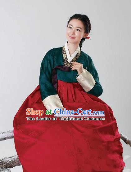 Top Grade Korean Hanbok Traditional Atrovirens Blouse and Red Dress Fashion Apparel Costumes for Women