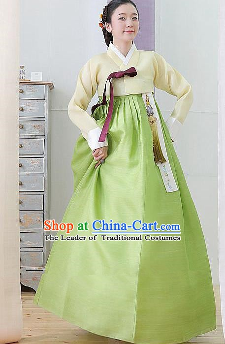 Top Grade Korean Hanbok Traditional Yellow Blouse and Green Dress Fashion Apparel Costumes for Women