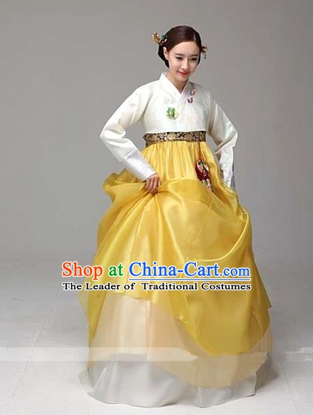 Top Grade Korean Palace Hanbok Traditional White Blouse and Yellow Dress Fashion Apparel Costumes for Women