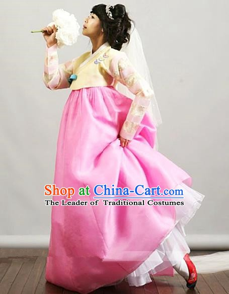 Top Grade Korean Palace Hanbok Traditional Yellow Blouse and Pink Dress Fashion Apparel Costumes for Women