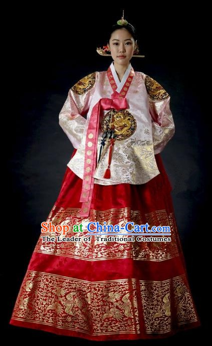 Top Grade Korean Palace Hanbok Traditional Empress Pink Blouse and Red Dress Fashion Apparel Costumes for Women