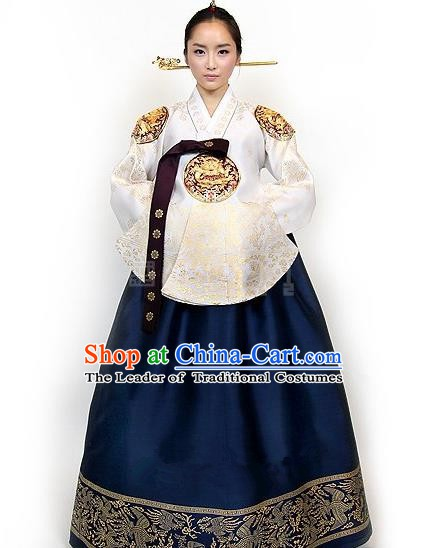 Top Grade Korean Palace Hanbok Traditional Empress White Blouse and Navy Dress Fashion Apparel Costumes for Women