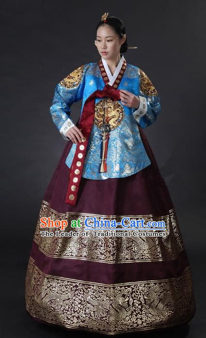 Top Grade Korean Palace Hanbok Traditional Empress Blue Blouse and Purple Dress Fashion Apparel Costumes for Women