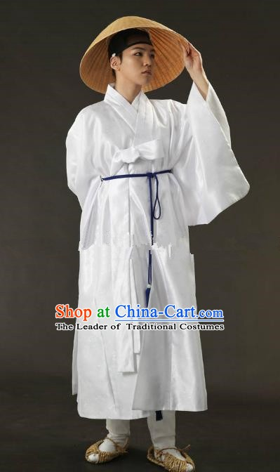 Asian Korean Traditional Costume Ancient Nobility Childe Bridegroom White Hanbok for Men