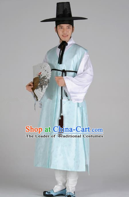 Asian Korean Traditional Costume Ancient Nobility Childe Bridegroom Blue Hanbok for Men
