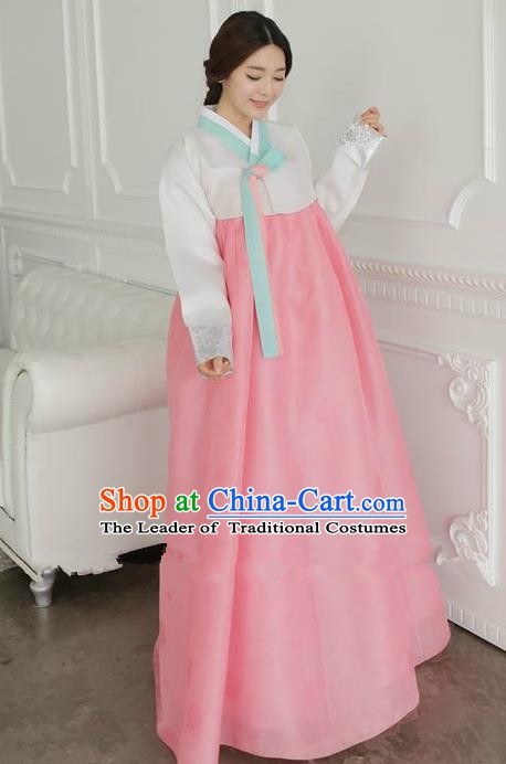 Top Grade Korean Traditional Hanbok Ancient Palace White Blouse and Pink Dress Fashion Apparel Costumes for Women