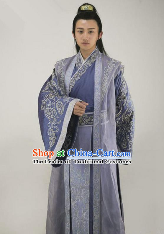 Chinese Traditional Tang Dynasty Prince Costume Ancient Childe Replica Costume for Men