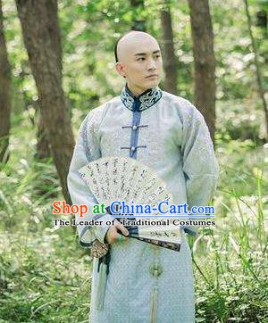 Traditional Chinese Ancient Qing Dynasty Nobility Childe Wu Yingqi Robe Costume for Men