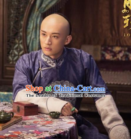 Traditional Chinese Ancient Qing Dynasty Nobility Childe Wu Yingqi Costume Purple Robe for Men