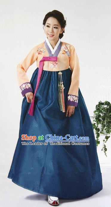 Top Grade Korean Hanbok Ancient Traditional Fashion Apparel Costumes Orange Blouse and Green Dress for Women