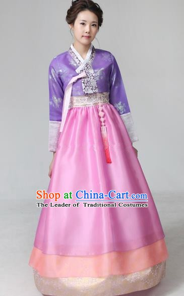 Top Grade Korean Hanbok Ancient Traditional Fashion Apparel Costumes Purple Blouse and Pink Dress for Women