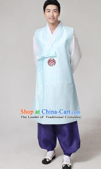 Asian Korean Traditional Blue Costumes Ancient Korean Hanbok Bridegroom Wedding Costumes for Men