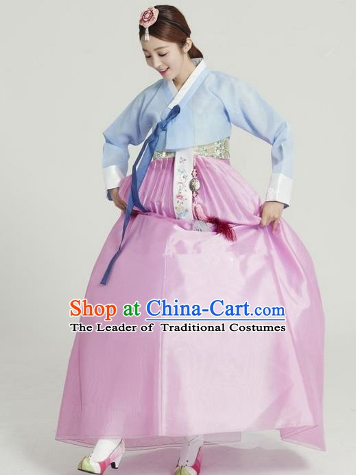 Top Grade Korean Hanbok Ancient Traditional Fashion Apparel Costumes Blue Blouse and Pink Dress for Women