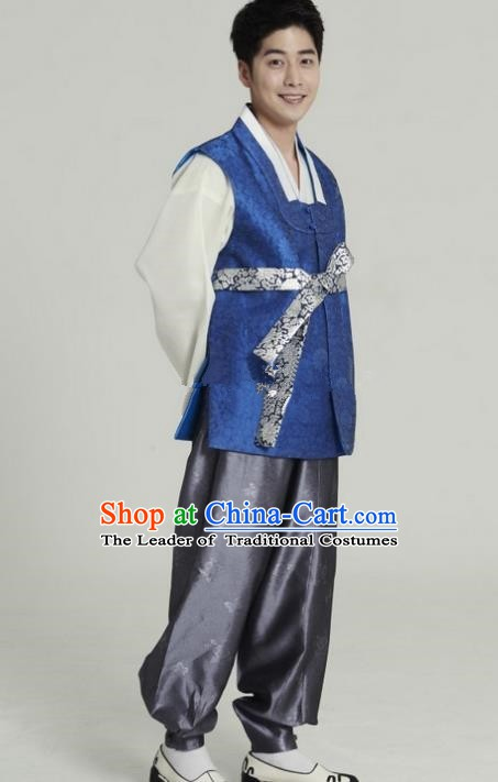 Asian Korean Traditional Costumes Ancient Korean Hanbok Bridegroom Royalblue Vest and Grey Pants for Men