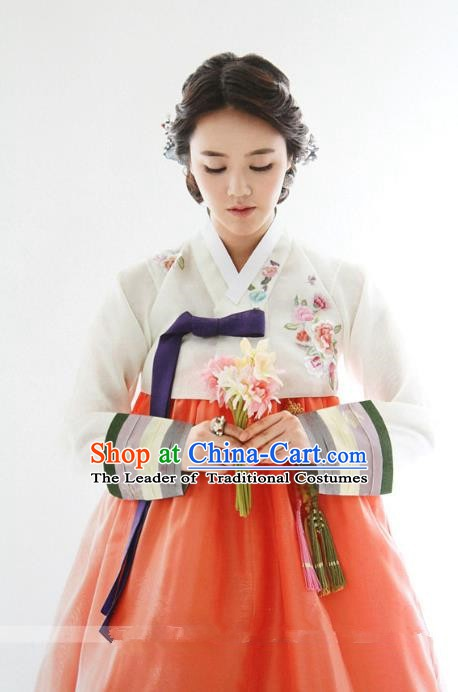 Top Grade Korean Hanbok Ancient Traditional Fashion Apparel Costumes White Blouse and Orange Dress for Women
