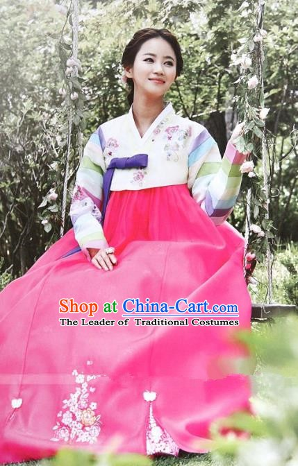 Top Grade Korean Hanbok Ancient Traditional Fashion Apparel Costumes Bride Blouse and Rosy Dress for Women